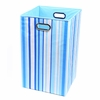 Sky Blue Stripe Canvas Laundry Bin