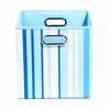 Sky Blue Stripe Canvas Storage Bin