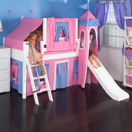 Wow Low Loft Bed with Blue and Hot Pink Castle Tent