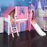 Skylar Low Loft Bed with Blue and Hot Pink Castle Tent