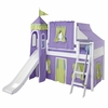 Skylar Low Loft Bed with Green and Purple Castle Tent