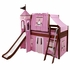 Skylar Low Loft Bed with Hot Pink Castle Tent
