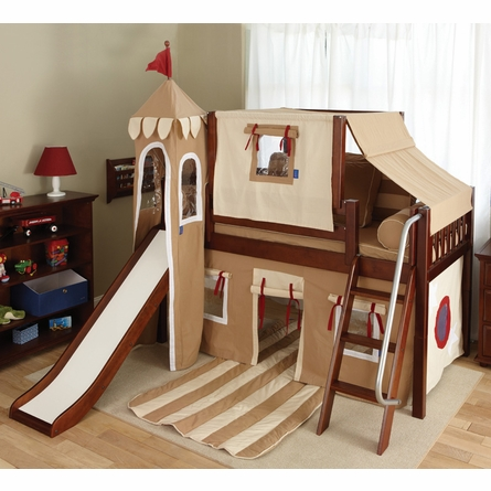 Skylar Low Loft Bed with Khaki Castle Tent