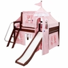 Skylar Low Loft Bed with Light Pink Castle Tent