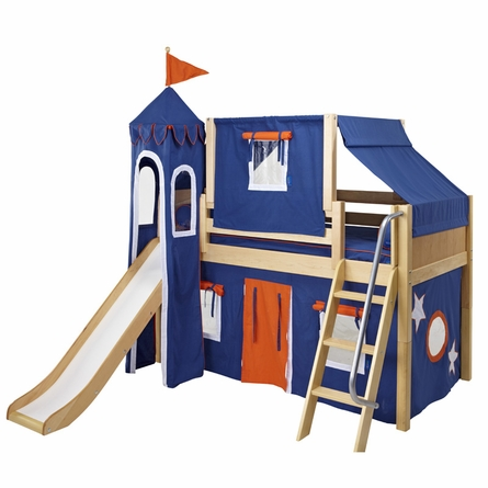 Skylar Low Loft Bed with Navy and Orange Castle Tent