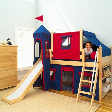 Skylar Low Loft Bed with Navy and Red Castle Tent