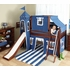 Skylar Low Loft Bed with Navy and White Castle Tent