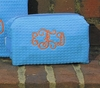 Small Embroidered Cosmetic Bag in Aqua Waffle Weave
