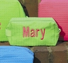 Small Embroidered Cosmetic Bag in Lime Waffle Weave