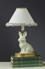 Small Green Lace and Dot Bunny Lamp