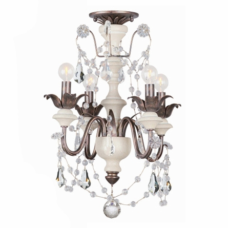Small Malibu English Bronze and Ivory Crystal Chandelier