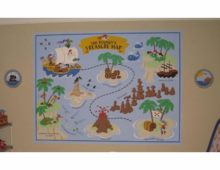 Small Pirate Pete's Treasure Map Paint by Number Wall Mural