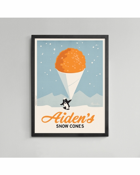 Snow Cone Custom Framed Art Print