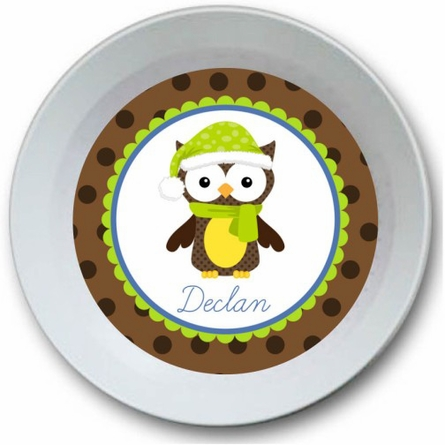 Snow Owl Personalized Bowl