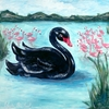 So Coco Black Beauty Swan Canvas Reproduction