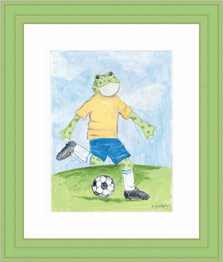 Soccer Froggy Framed Lithograph