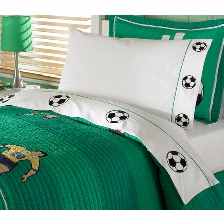 Soccer Quilt with Pillow Sham