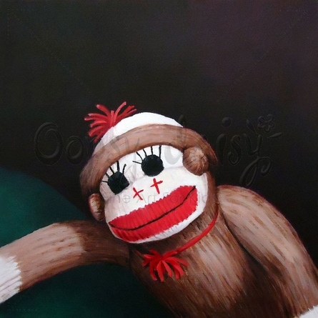 Sock Monkey Canvas Wall Art