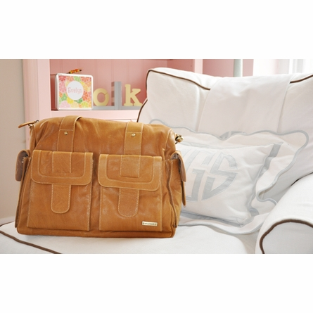 Sofia Diaper Bag in Tan Leather