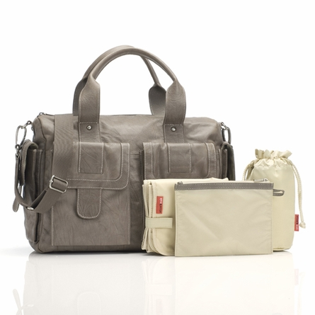 Sofia Diaper Bag in Taupe Leather