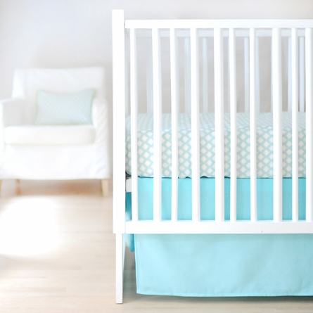 Solid Aqua Crib Skirt