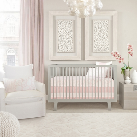 Solid Band Crib Skirt in Blush