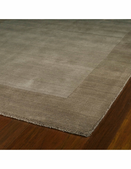 Solid Border Rug in Taupe