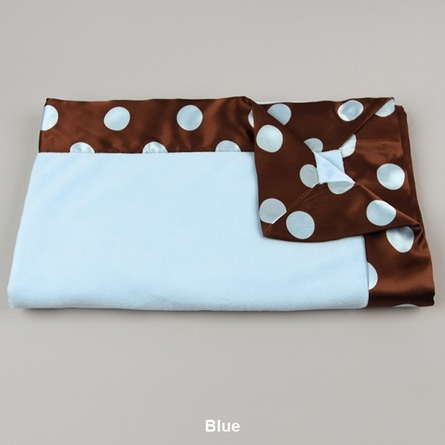 Solid Velour with Super Dot Satin Baby Blanket