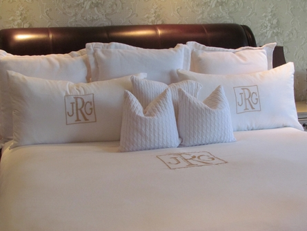Solid White Monogrammed Duvet Cover and Shams