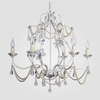 Sonja White with Pearls Clear Crystal Chandelier