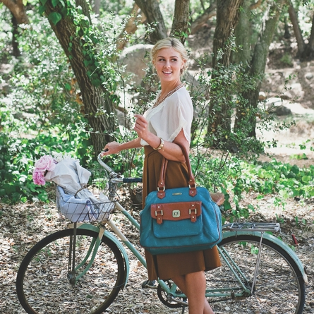 Sophia Diaper Bag - Aqua Blue and Rust