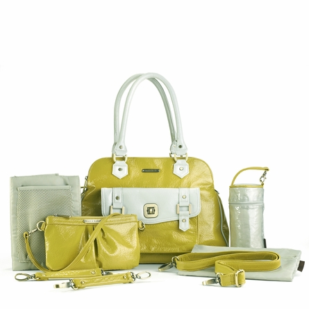 Sophia Diaper Bag - Lemon Yellow and Shadow White