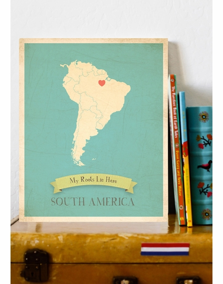 South America My Roots Continental Map Art Print
