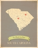 South Carolina My Roots State Map Art Print