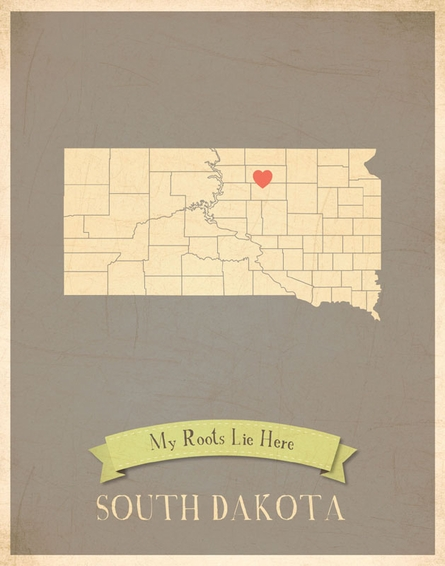 South Dakota My Roots State Map Art Print