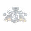 Southport Five Light White Floral Semi-Flush