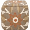 Southwestern Pouf in Dusky Green and Antique White