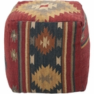 Southwestern Pouf in Maroon and Blue