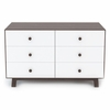 Sparrow 6 Drawer Dresser in Walnut and White