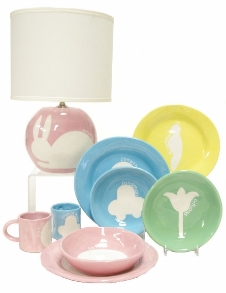 Sphere Lamp in Pink Bunny Silhouette