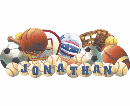 Sports Balls Personalized Peel and Stick Wall Mural