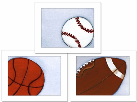 Sports Framed Canvas Reproduction - Set of 3