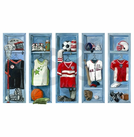 Sports Lockers Peel and Place Wall Stickers
