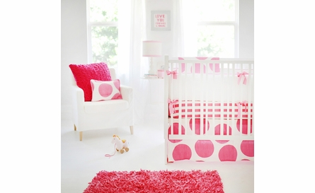 Spot On Fuchsia Crib Skirt