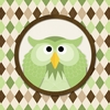Square Argyle Owl in Green Canvas Wall Art