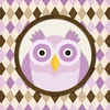 Square Argyle Owl in Purple Canvas Wall Art