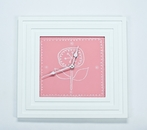 Square Clock with Doodle Flower