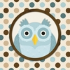 Square Polka Dots Owl in Blue Canvas Wall Art