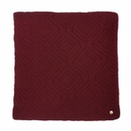Square Quilt Cushion Throw Pillow in Bordeaux