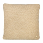Square Quilt Cushion Throw Pillow in Camel